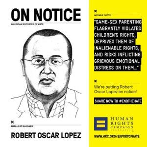 羅比斯因為反對同性撫養而被同運組織HRC標籤為hater(網絡圖片)