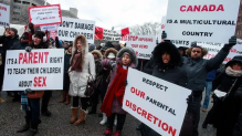parents protest in Canada